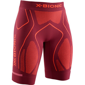 X-Bionic The Trick G2 Pantalones cortos running Mujer, dark ruby/kurkuma orange